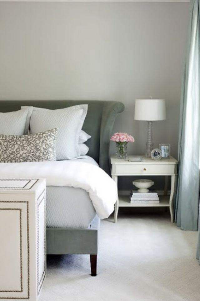 Gray and White Bedroom the wall color