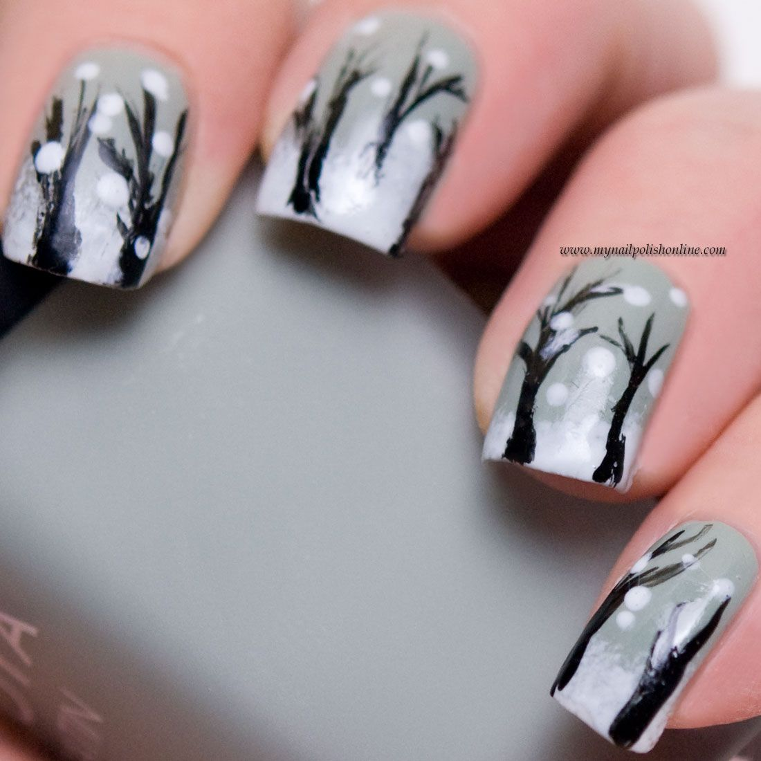 Nothing Adds An Air Of Mystery And Intrigue Quite Like The: Winter Nail Art - It's Snowing In The Woods