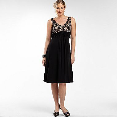 Jessica Howard V-Neck Lace Top Dress w/Broach