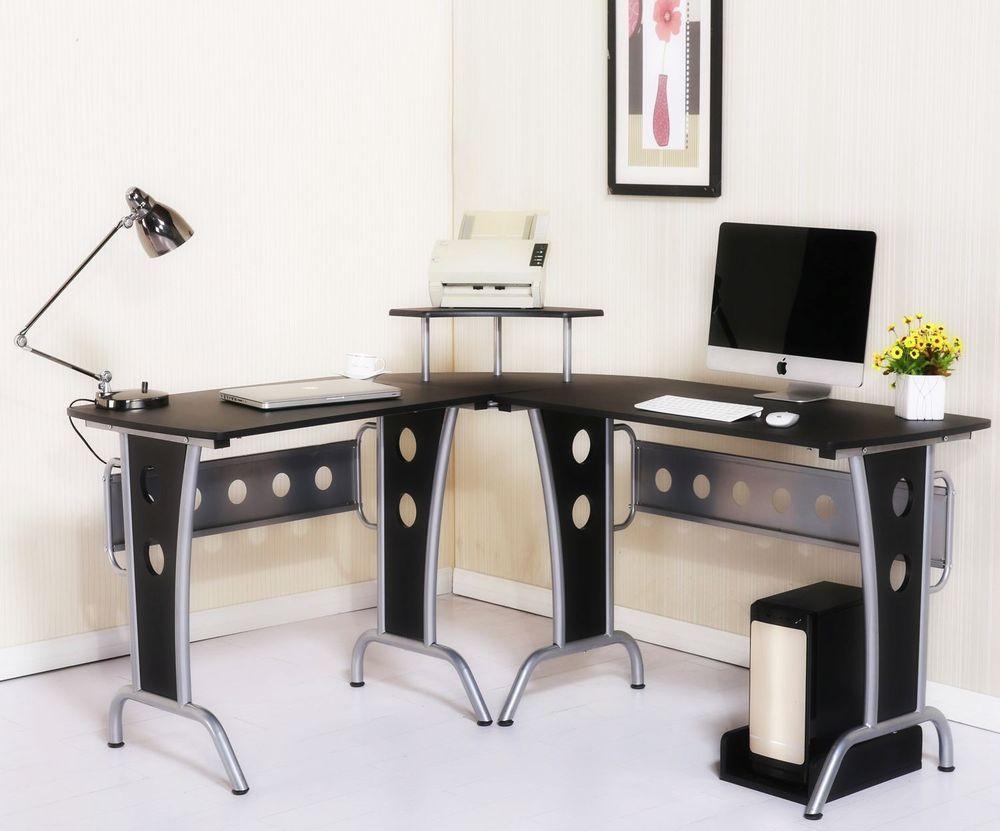 Homcom Corner Computer Desk Home Office Workstation In Black Colour 165 X 145