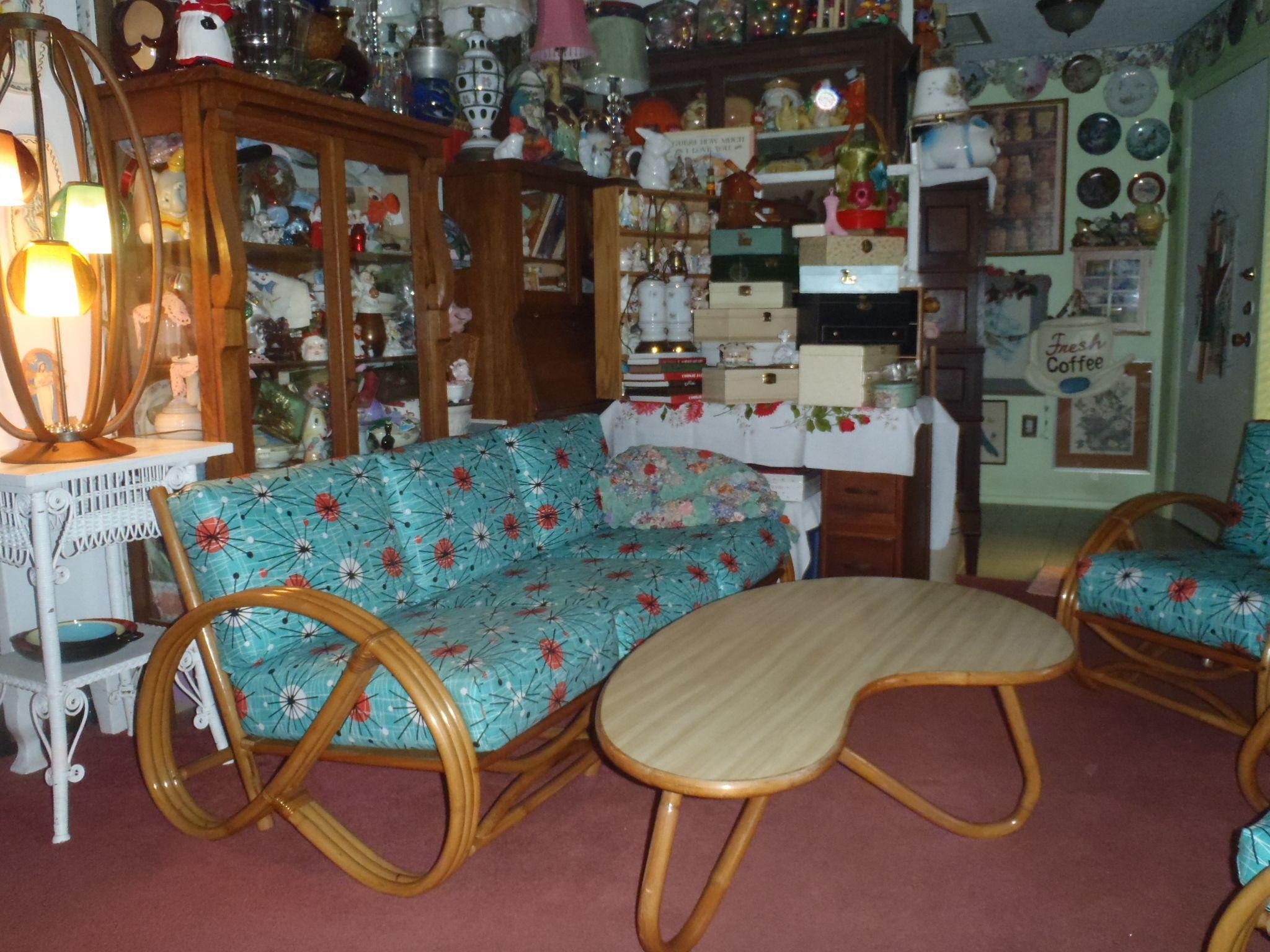 I finished my Vintage Rattan furniture with  Michael Miller  Atomic Florida  Living Room. I finished my Vintage Rattan furniture with  Michael Miller