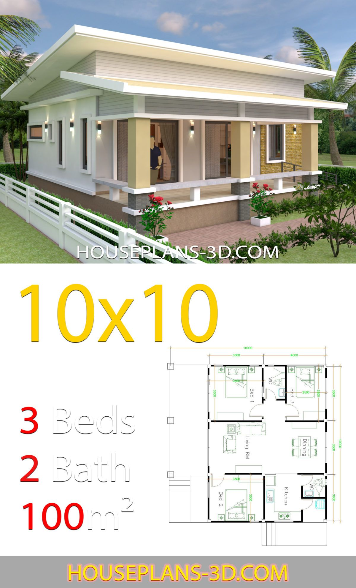 House Design 10x10 With 3 Bedrooms Full Interior In 2020