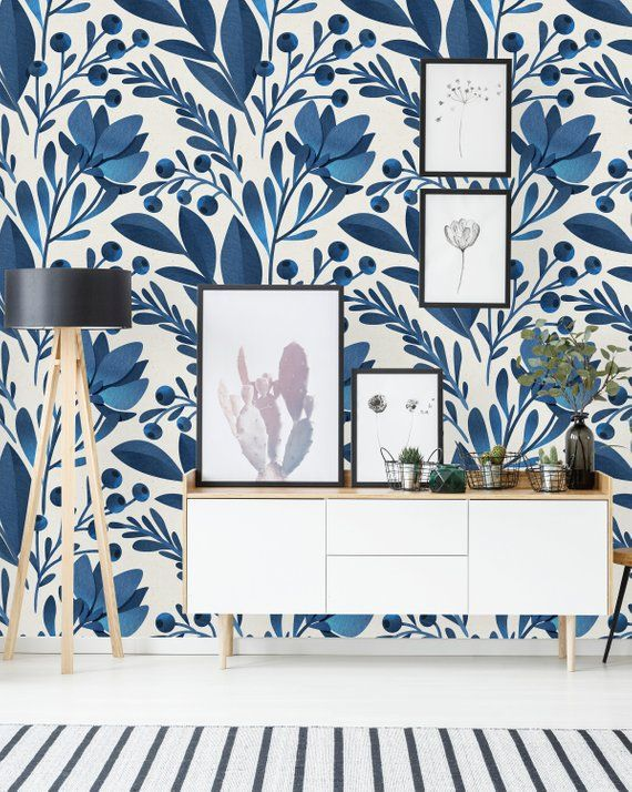 Removable Wallpaper Self Adhesive Wallpaper Blue Flowers And Etsy In 2020 Home Wallpaper Decor Blue Floral Wallpaper