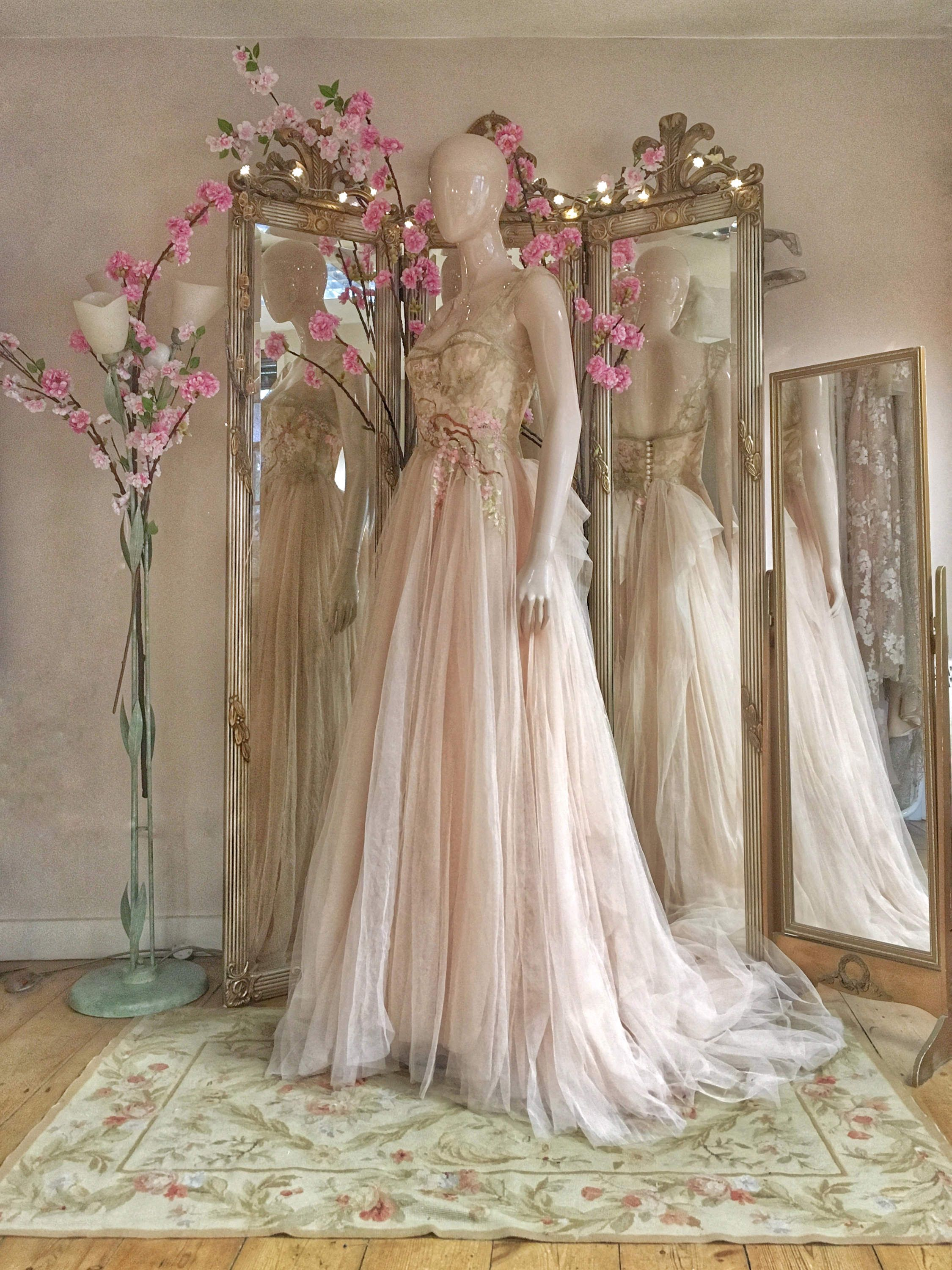 622af1bd0ce  Blush  tulle Hanami wedding dress with  cherryblossom  embroidery by Joanne  Fleming Design
