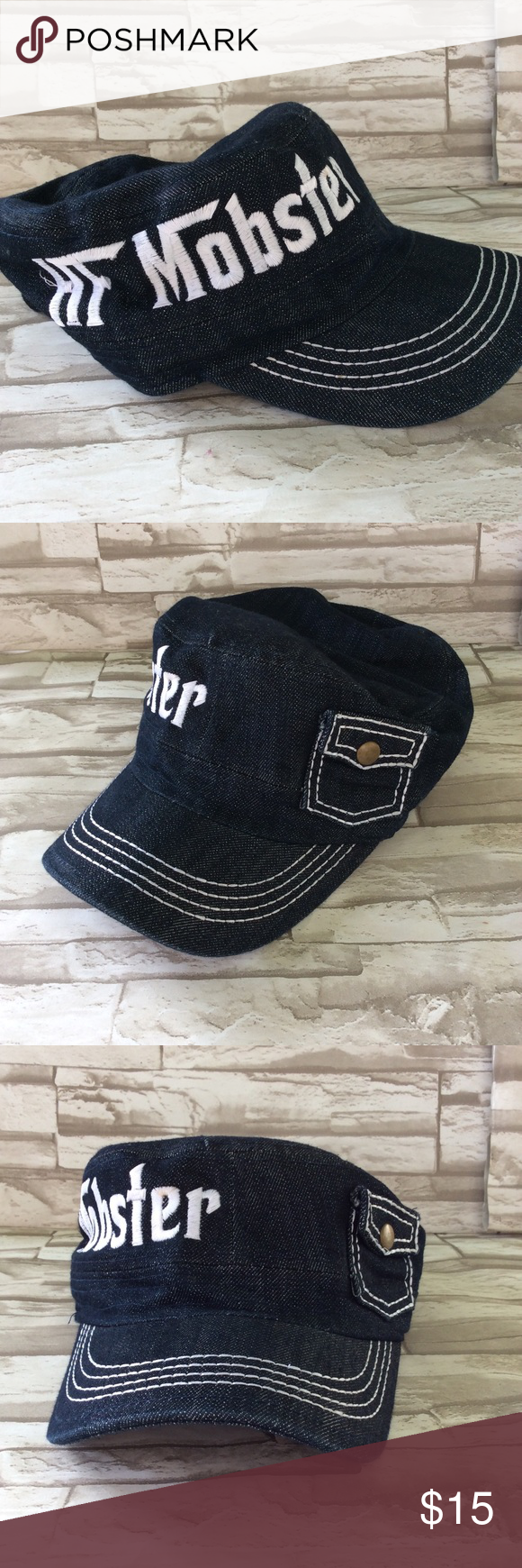 """💜Mobster Cap by Pitbull Great hat from Pitbull. Blue denim page boy style hat with """"HF Mobster"""" embroidered on the side. There's also a small pocket. Bill is in great shape, and it's very clean. Women's size. Pitbull Accessories Hats"""