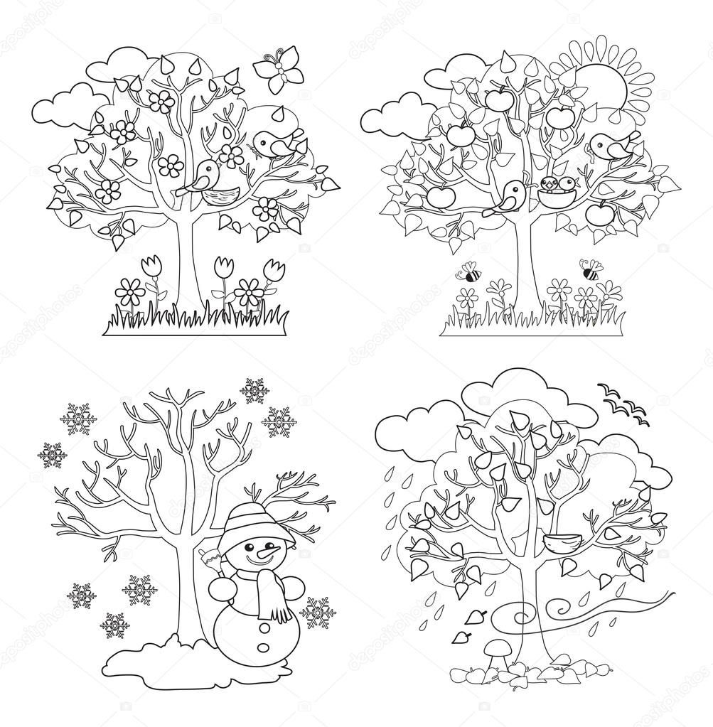 Download - Four Seasons Trees Clipart and Vector with ...