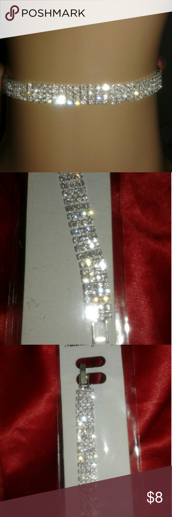 "New Rhinestone Bracelet New & never worn rhinestone bracelet. Lift & lock clasp. 4 rows. It can fit my 8"" wrist. Bundle it with the rhinestone hoops from closet. Wear it to a wedding, prom, anniversary dinner, or with solid color outfit for a simple elegant look. Jewelry Bracelets"