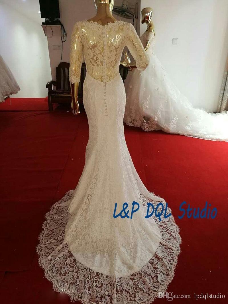 Elegant lace mermaid wedding dresses real photos vneck three