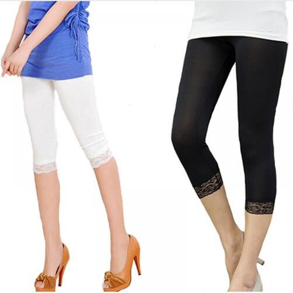 Solid Seamless Stretchable Capri Under Knee Leggings with Lace Detail S//M~M//L