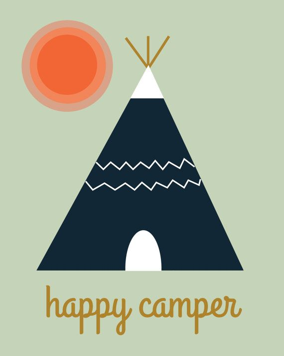 nursery happy camper tepee tent kids art print instant download on Etsy, $6.00