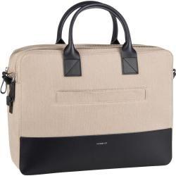 Photo of Sandqvist Aktentasche Seth Twill Briefcase Beige Twill/Navy Leather (10 Liter) SandqvistSandqvist