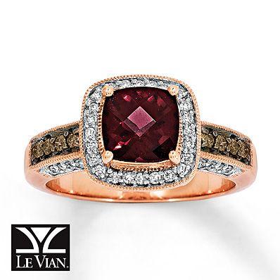 Le Vian Garnet Ring 1 3 Ct Tw Diamonds 14k Strawberry Gold