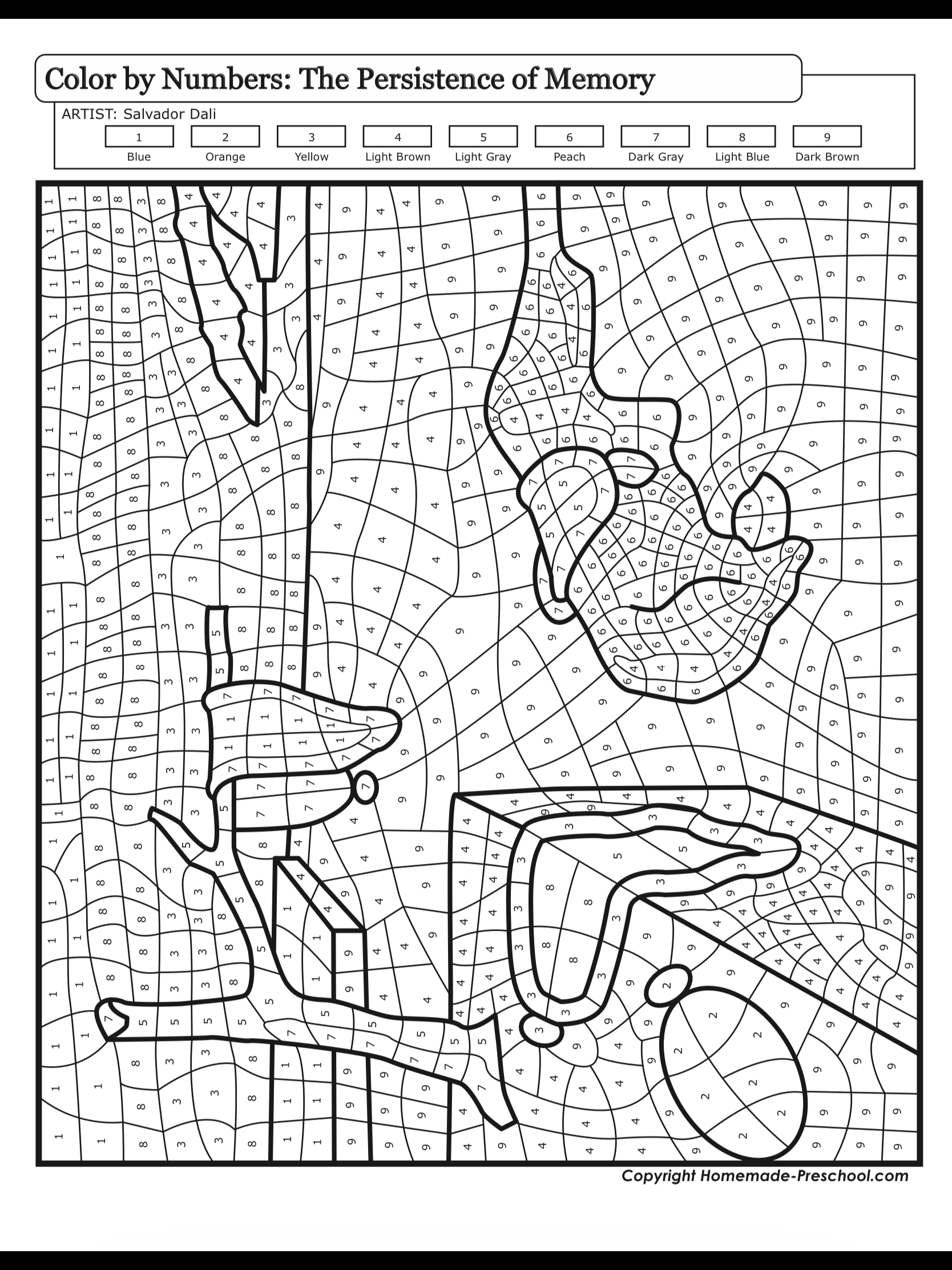 Paintbynumbers Salvadordali Thepersistenceofmemory Famous Art Coloring Color Theory Art Abstract Coloring Pages