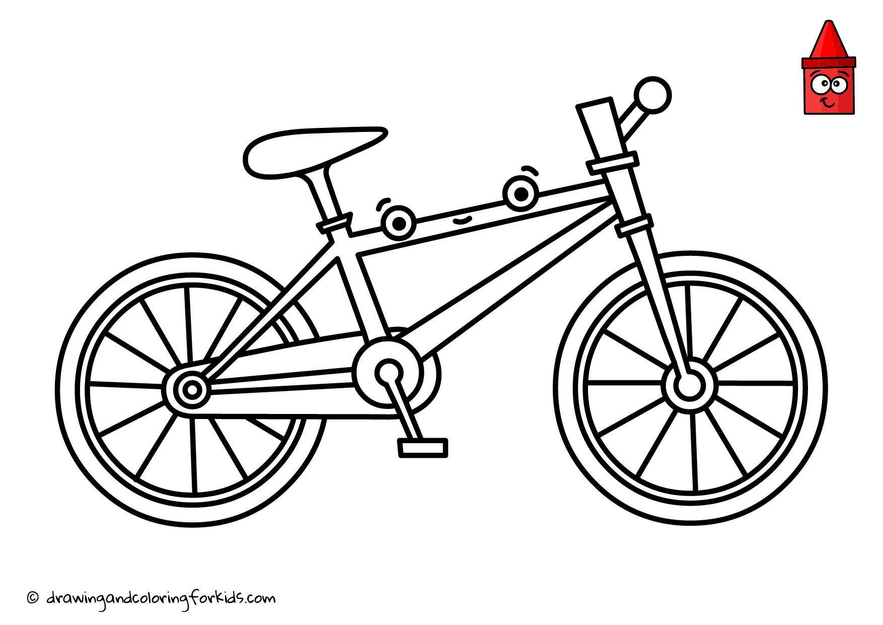 Drawing Bicycle Bike Coloring Page Bicycle Color Bicycle Drawing Step By Step Bicycle Drawing Coloring Pages Coloring Pages For Kids