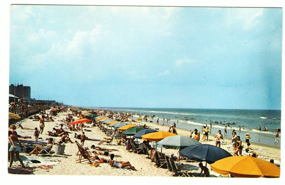 Undated Unused Postcard Virginia Beach Va Umbrellas On The Ocean Sand