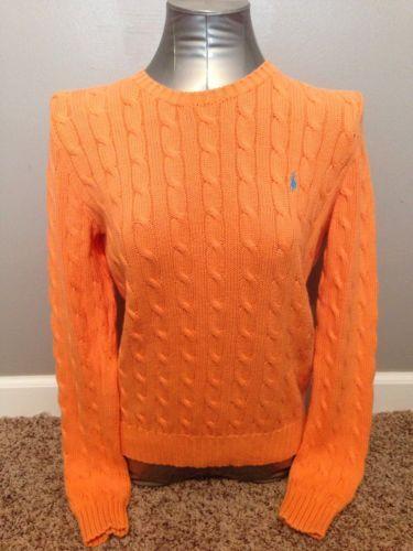 c2c566c04 Ralph Lauren Polo Women s Orange Cable Knit Sweater size Medium ...