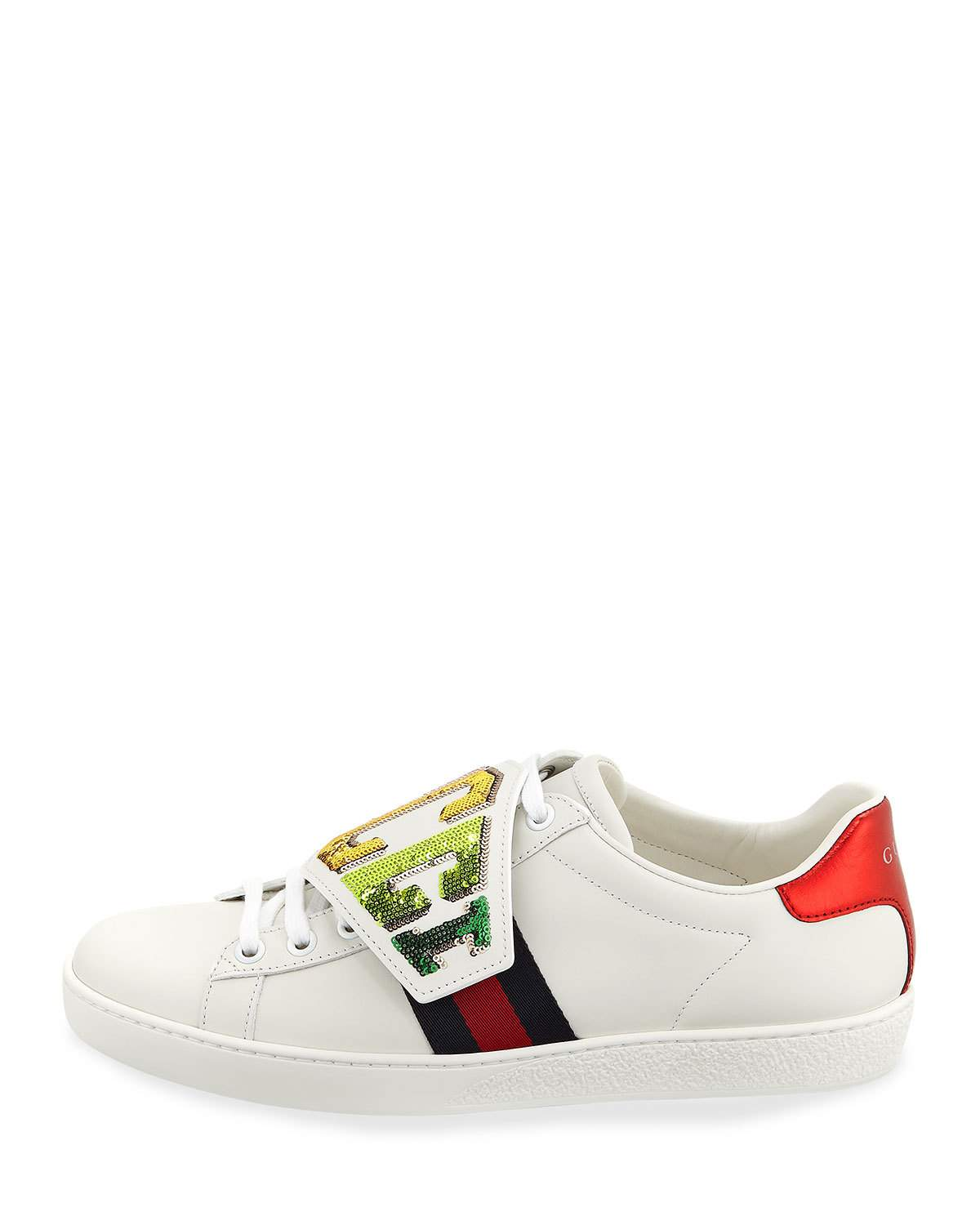fbc19fa69 Gucci New Ace Rainbow Gucci Patch Leather Sneaker   Products ...