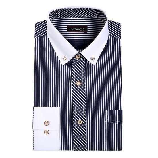 جديد الخريف الرجال اللباس قميص القطن مخطط 5xl رجل يعمل قمصان طويلة الأكمام المرقعة قميص رجال الأعمال الذكو Mens Shirt Dress Tuxedo Shirt Men Formal Shirt Dress