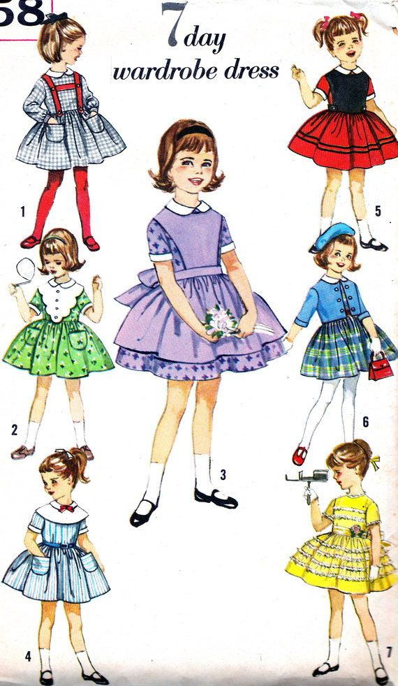 Vintage Sewing Pattern 1960s Simplicity 4058 Girl S Dress With