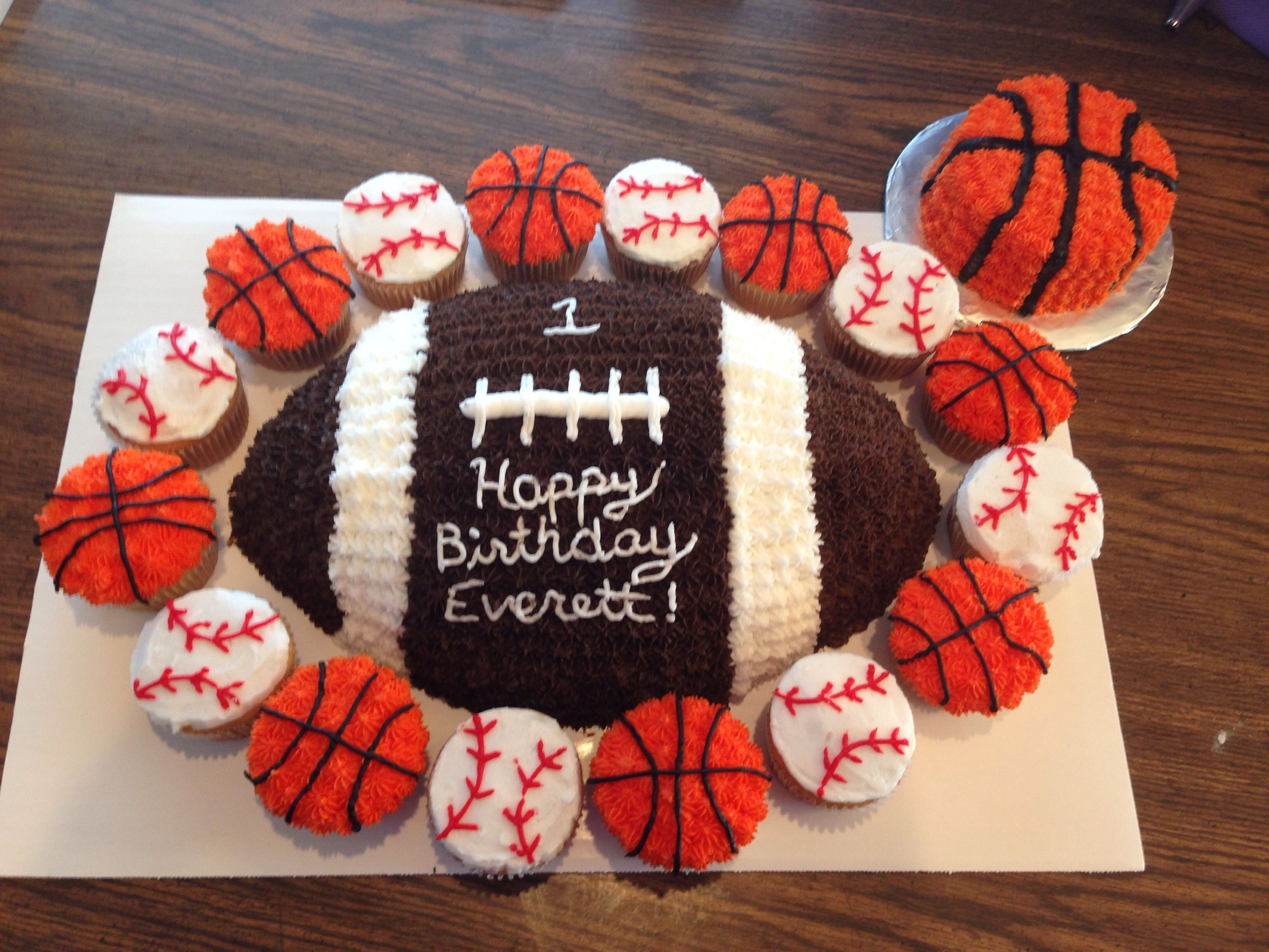 Amazing 1St Birthday Sports Themed Cake With Smash Cake With Images Funny Birthday Cards Online Elaedamsfinfo