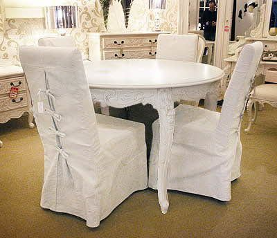 Provincial Dining Table Set 5 Pieces, French Chateau Finish Shabby