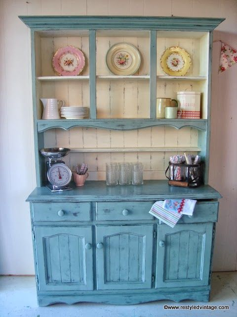 Restyled Vintage Farmhouse Hutch Dresser In Duck Egg And