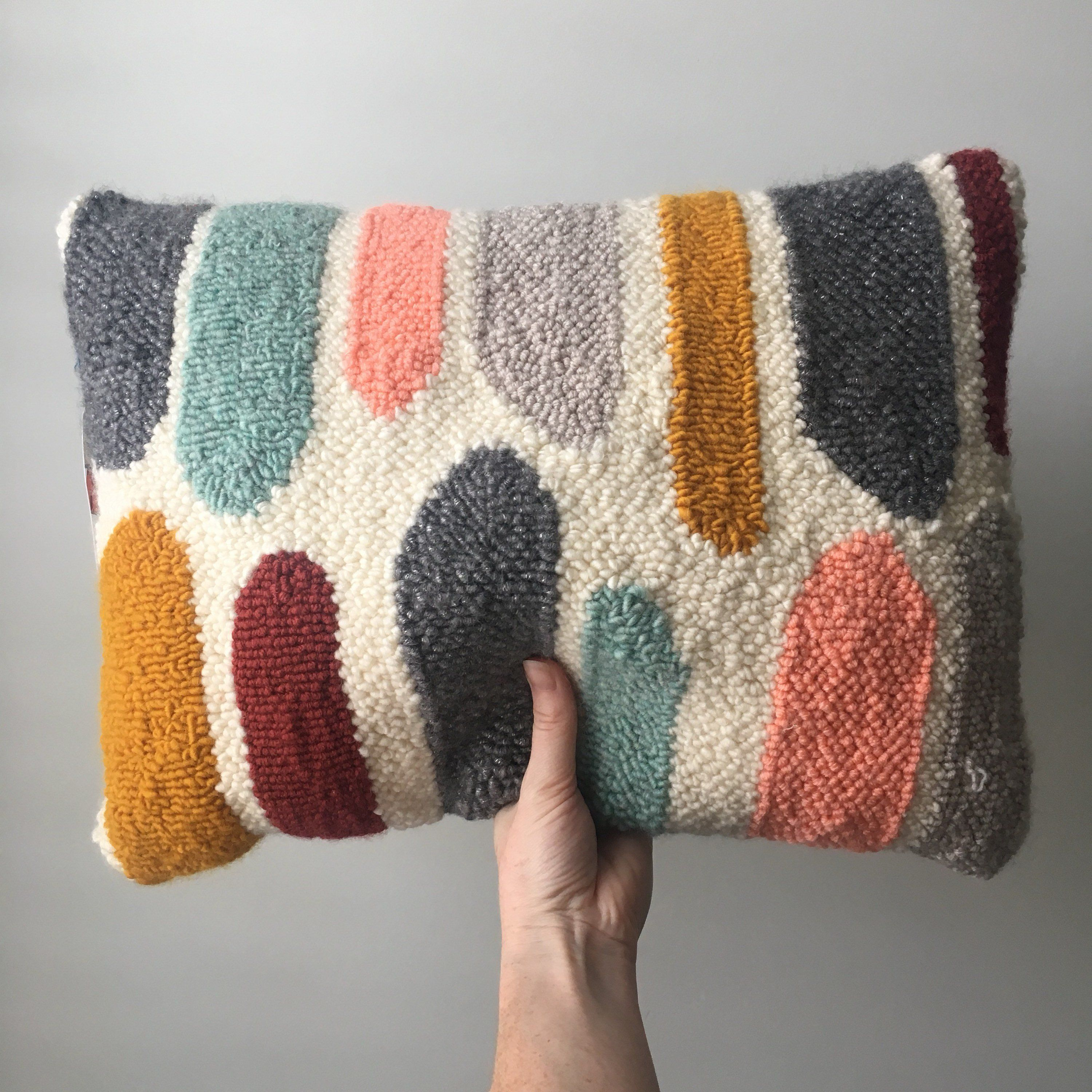 Punched Rug Decorative Handmade Throw Pillow Handmade Throw