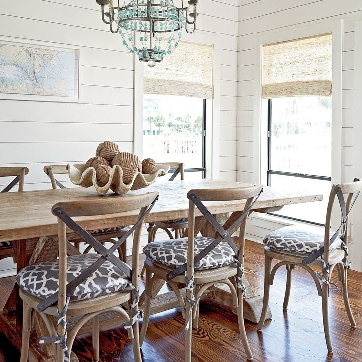 15 shiplap rooms we love wall ideas coastal and beach for Beach dining room ideas