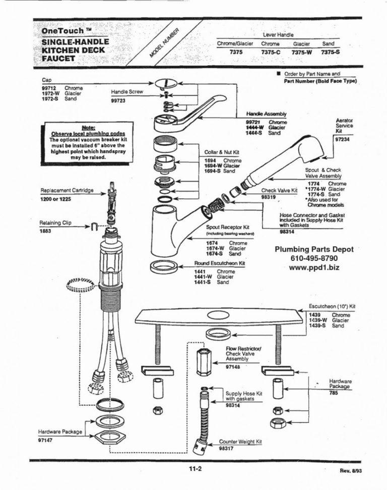 moen 7600 kitchen faucet repair diagram