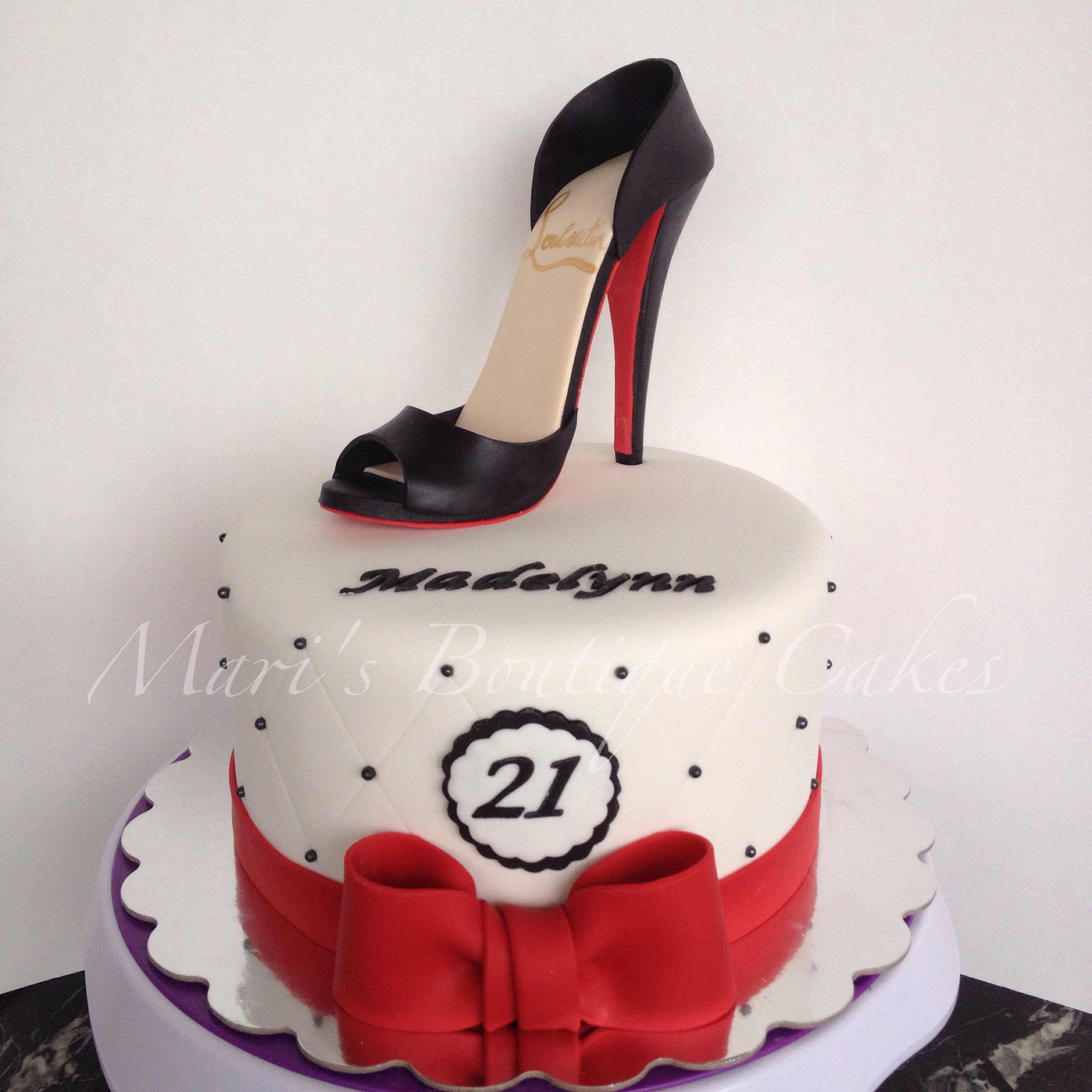 Pleasing 21St Birthday Cake With High Heel Shoe Topper By Maris Boutique Birthday Cards Printable Opercafe Filternl