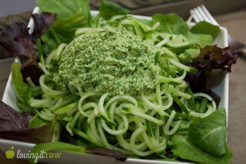 Vegan Pesto Pasta on www.lovingitraw.com