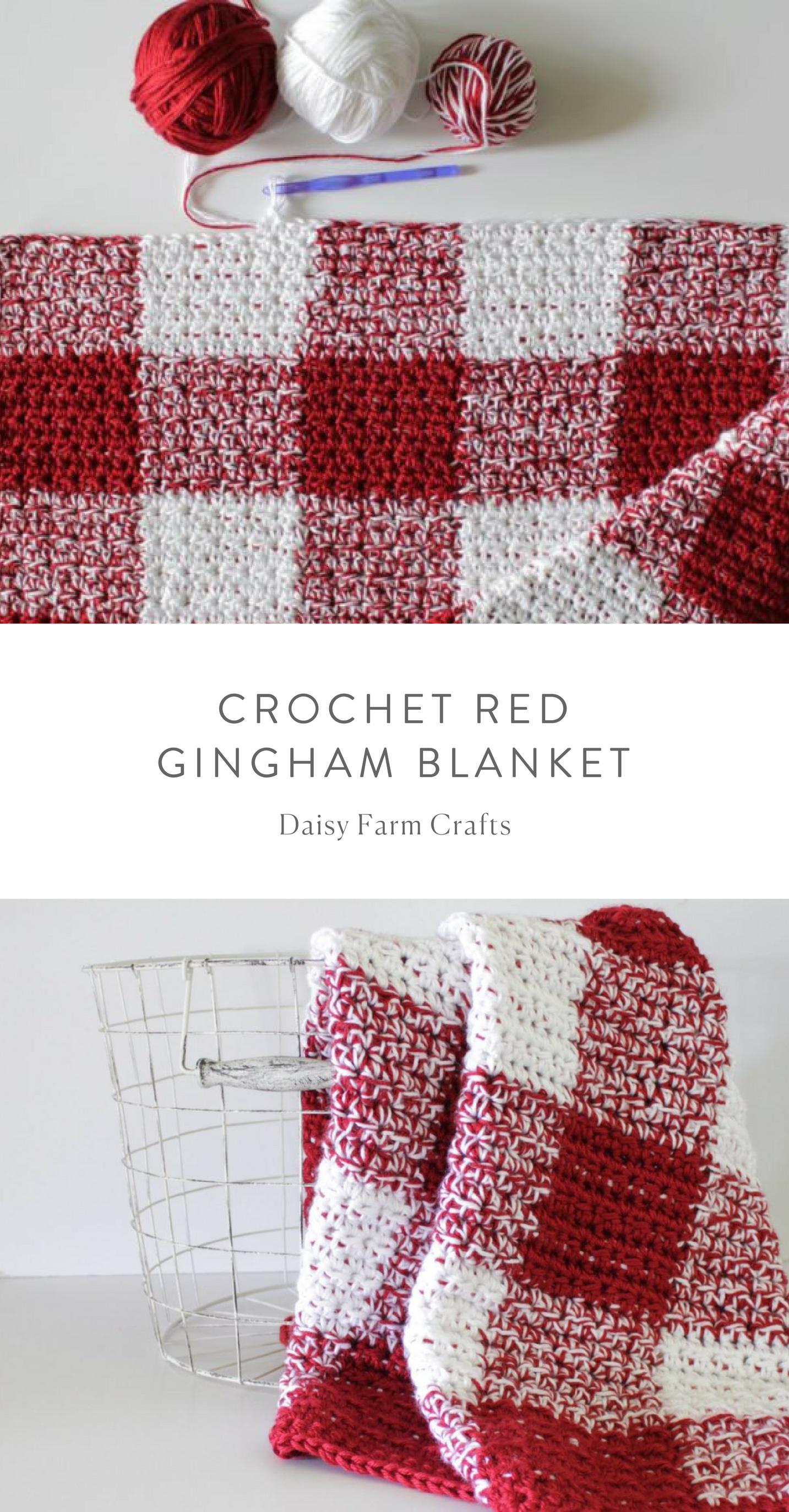 Free Pattern - Crochet Red Gingham Blanket | Proyectos que debo ...
