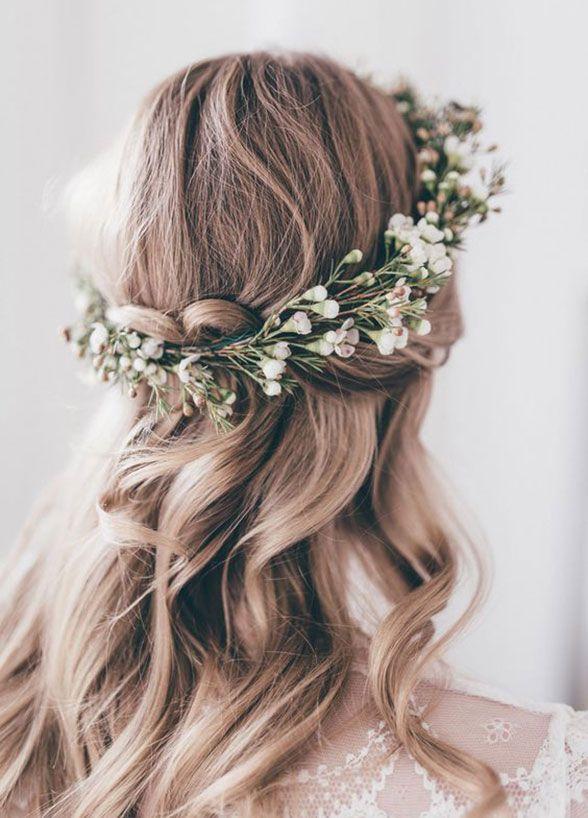 Rustic Inspiration Flower Crown Hairstyle Romantic Wedding Hair Wedding Hair Down