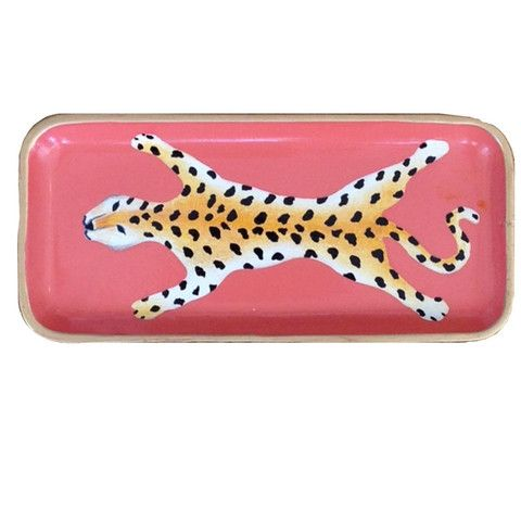 Dana Gibson Hand Painted Coral Leopard Tray - Waiting On Martha - 1