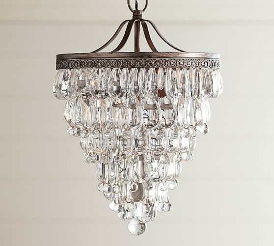 Clarissa crystal drop small round chandelier pottery barn buy similar for foyer lighting clarissa crystal drop small round chandelier mozeypictures Images