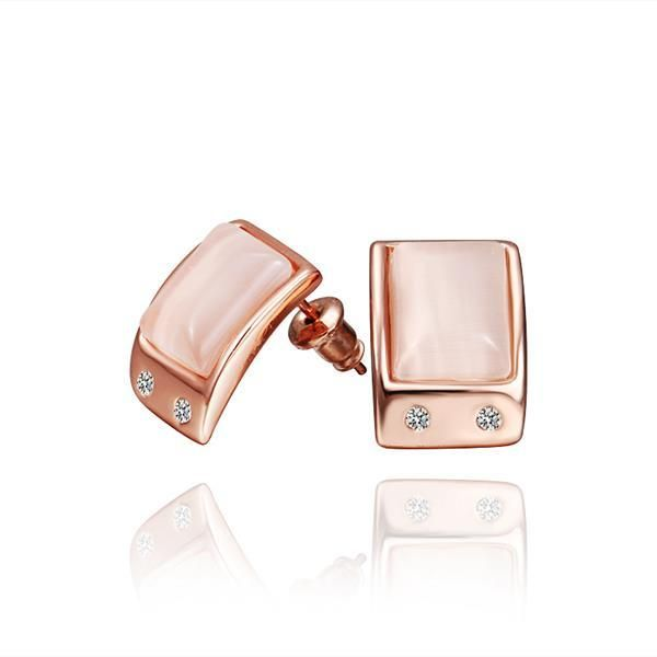 Rose Gold Center Stud Earrings Made with Swarovksi Elements only by: Rubique Jewelry, Women's