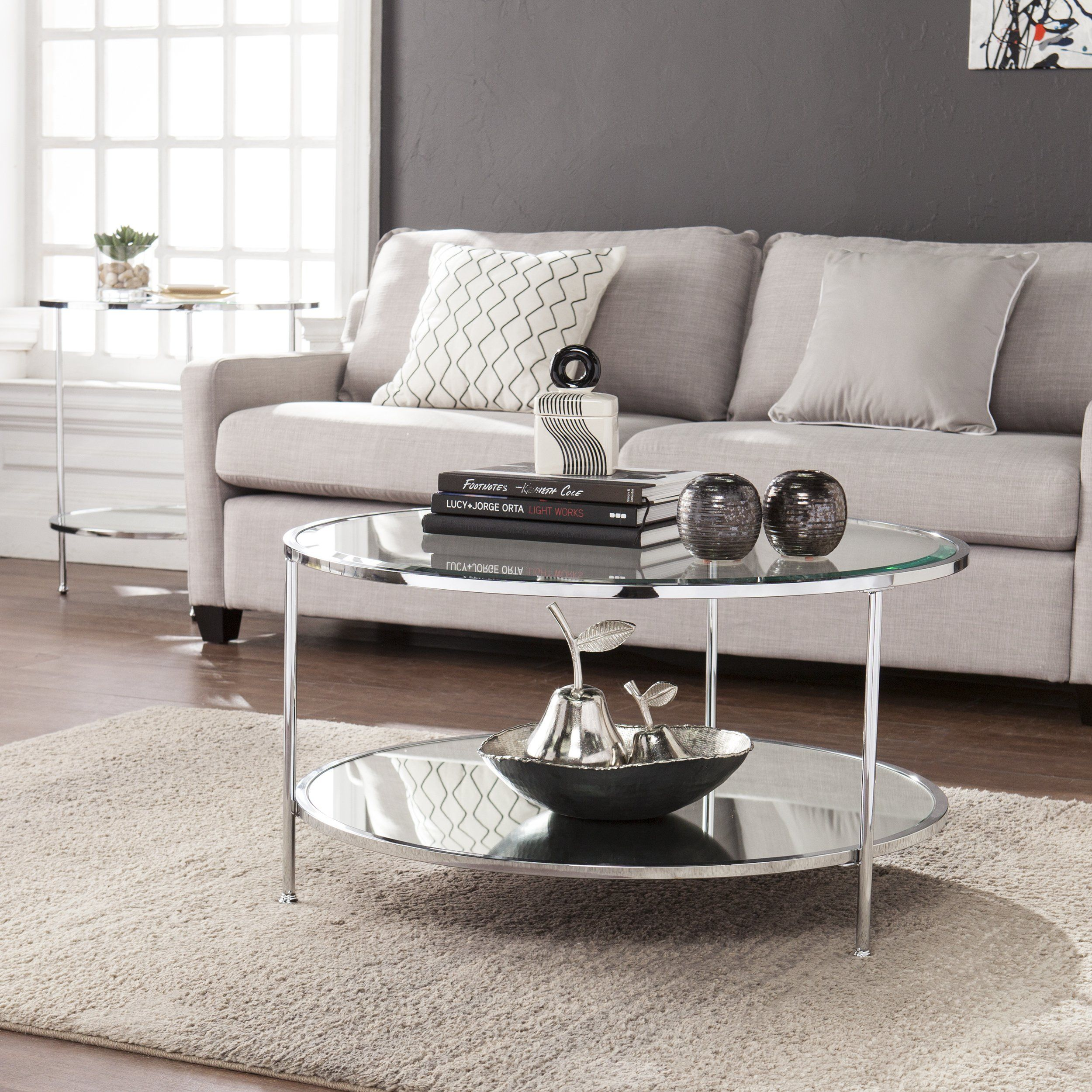 Furniture Hotspot A Round Metal And Glass Coffee Table A Chrome 33 75 W X 33 75 D X 18 25 H Coffee Table Coffee Table With Storage Round Coffee Table Sets [ 2500 x 2500 Pixel ]