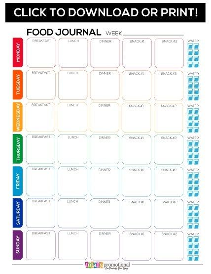 Free Printable Food Journal - Motivate your Fitness Group | Totally Inspired