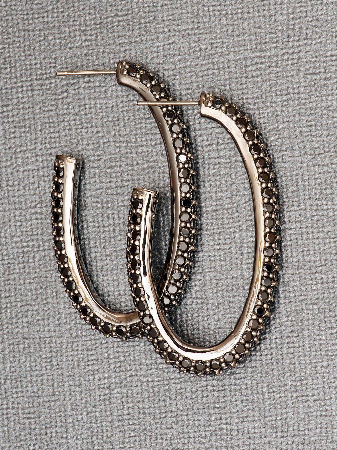 M C L Design Sterling Silver Black Spinel Hoop Earrings At London