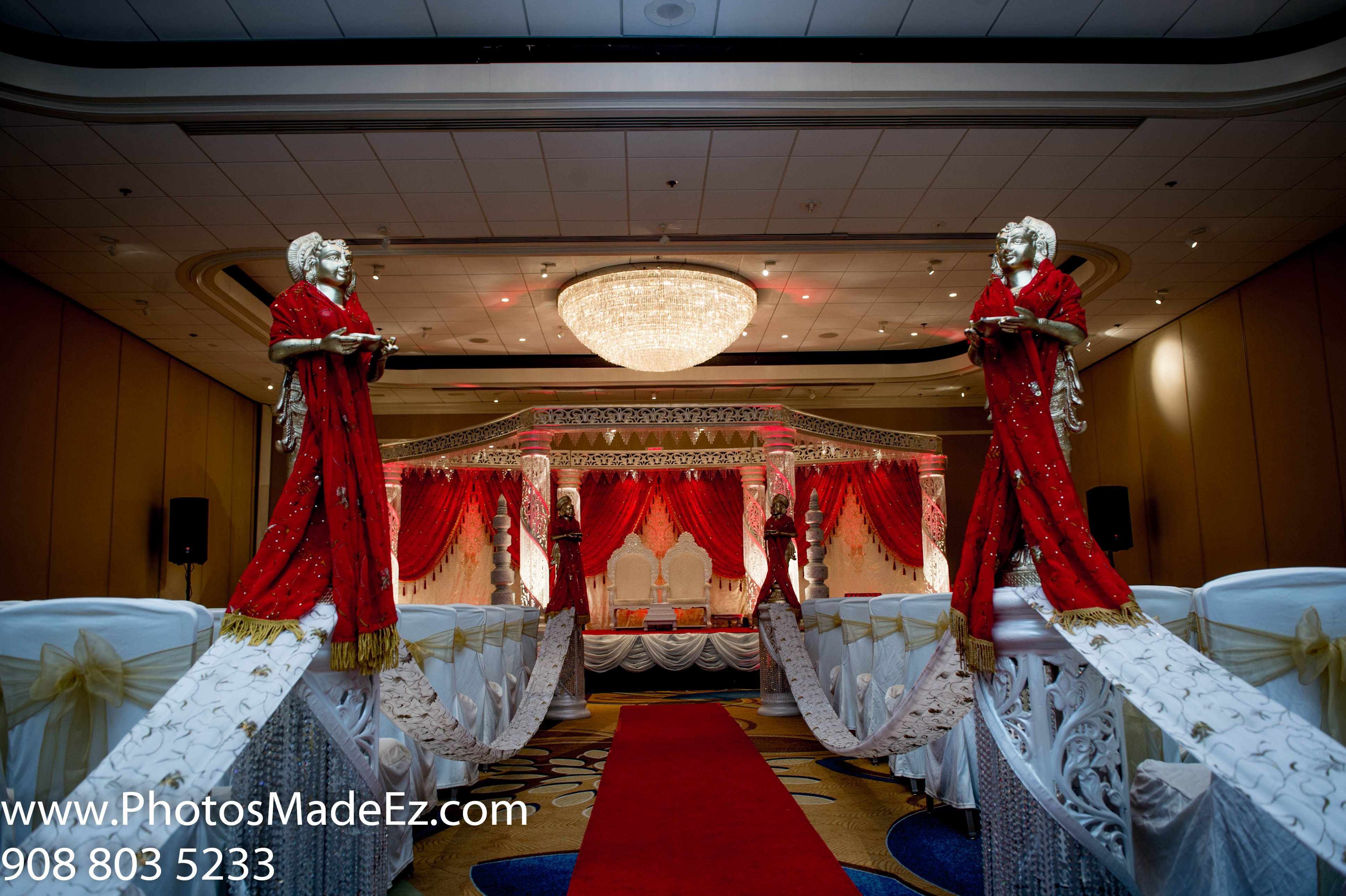 Mandap For Ceremony In Indian Wedding In Marriott Teaneck Nj With
