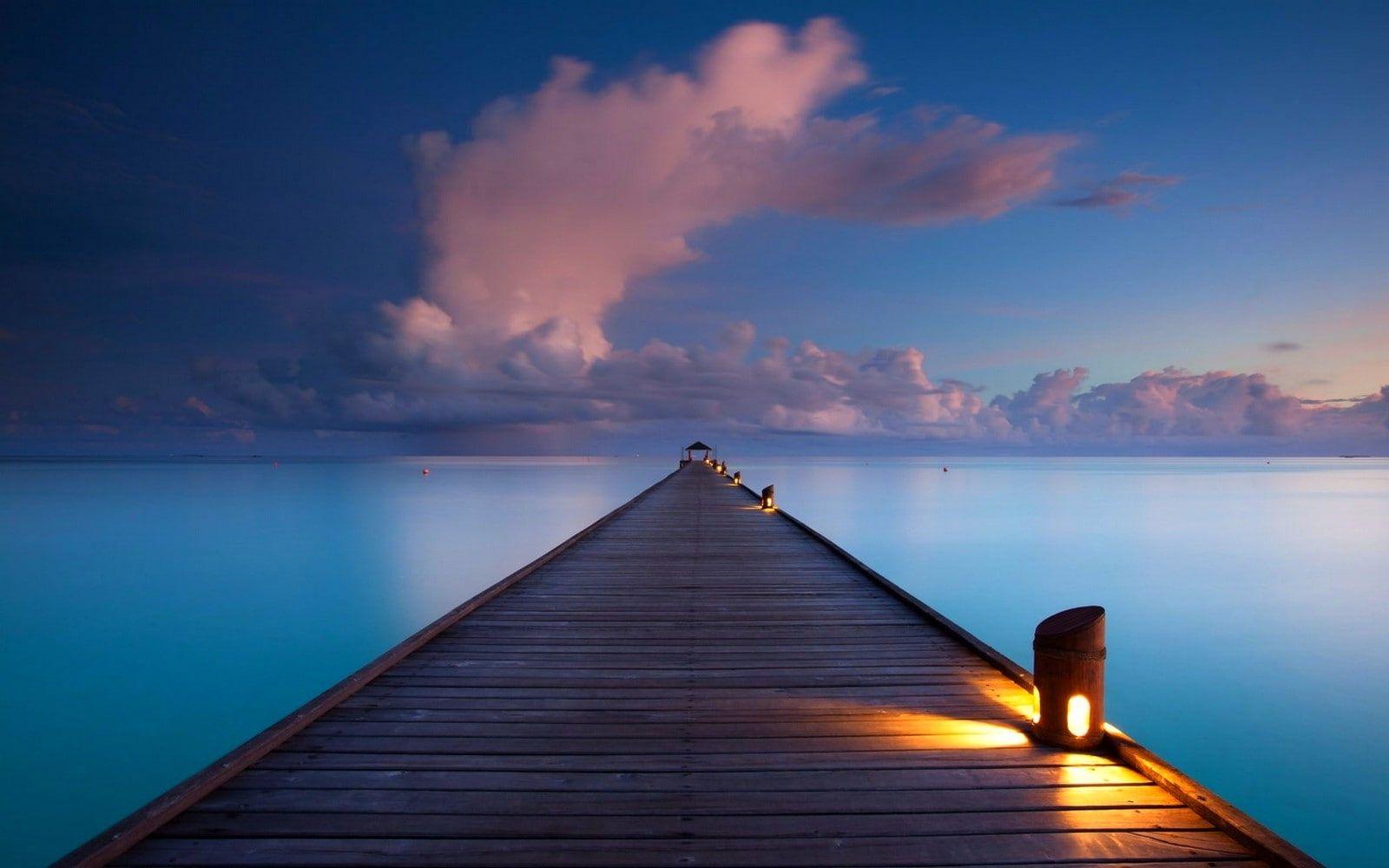 Clouds Horizon Lamps Landscape Lights Maldives Nature Pier Sea Sunrise Tropical Walkway 720p Wallpaper Hdwal Ocean Illustration Landscape Clouds Hd wallpaper nature lake pier clouds