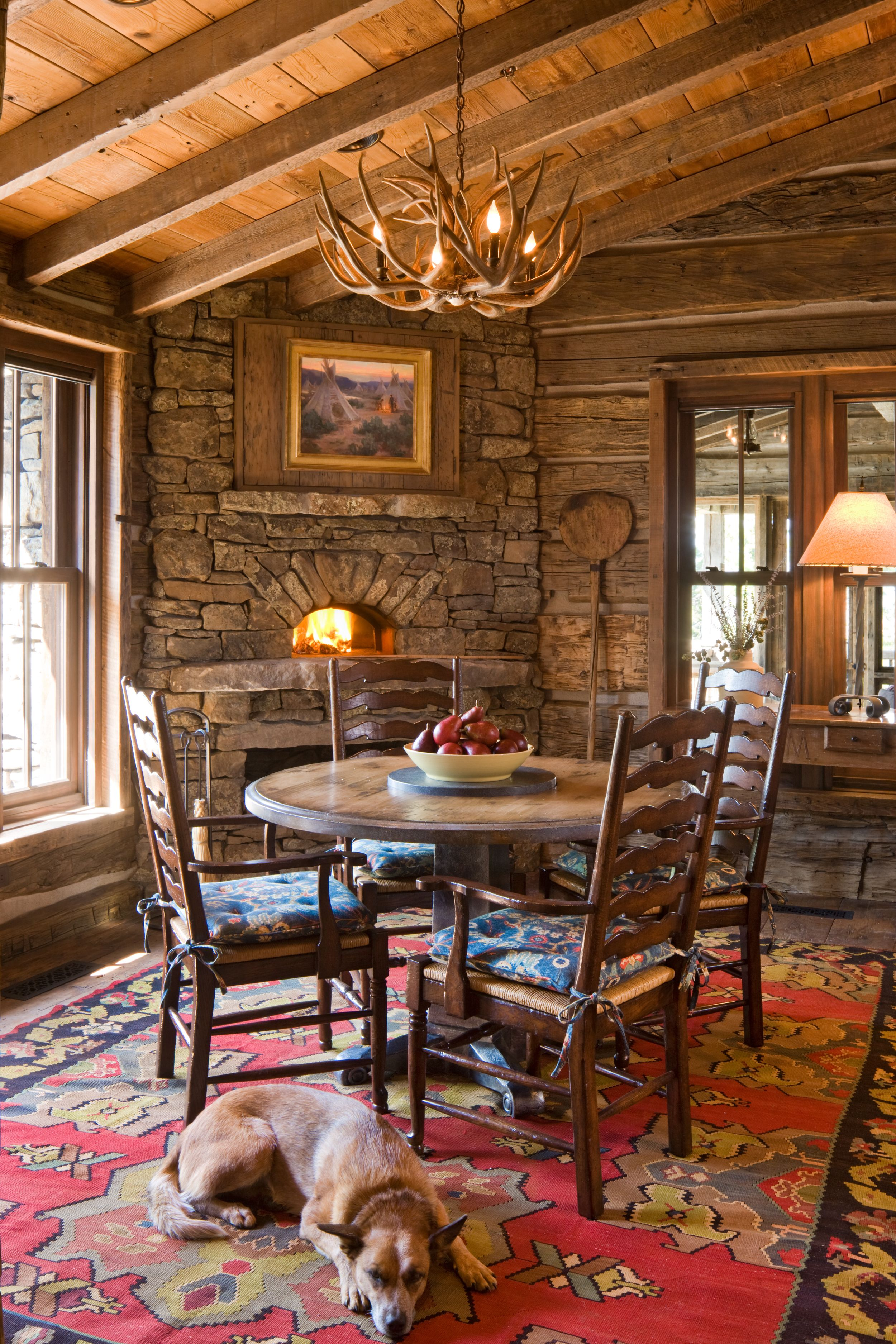 Wonderful Fireplaces In The Dining Room For Cozy And Warm: GREAT POINT LODGE With Inspiring Vistas And 160 Acres Of