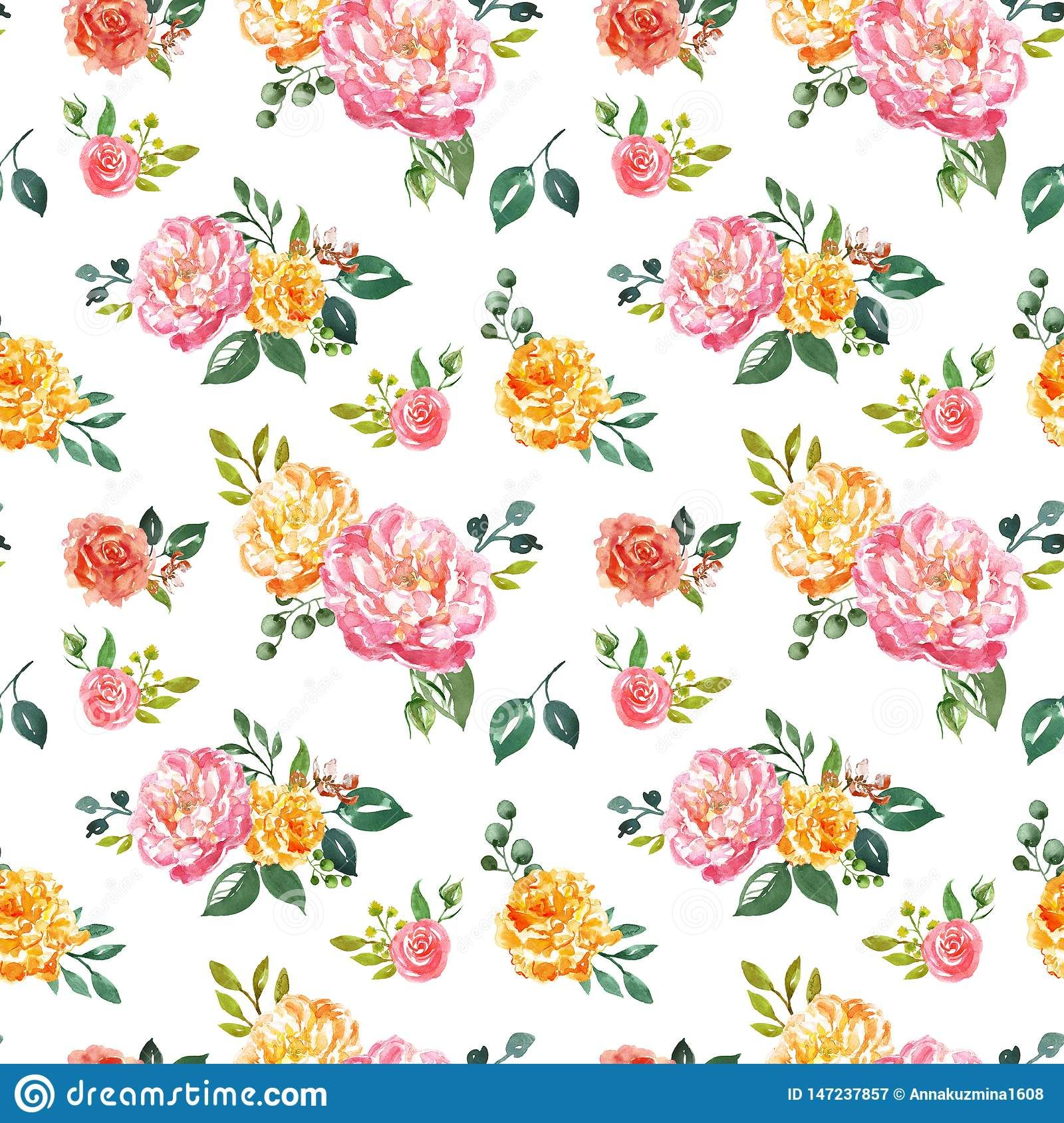 Beautiful Watercolour Floral Seamless Pattern Hand Painted Pink