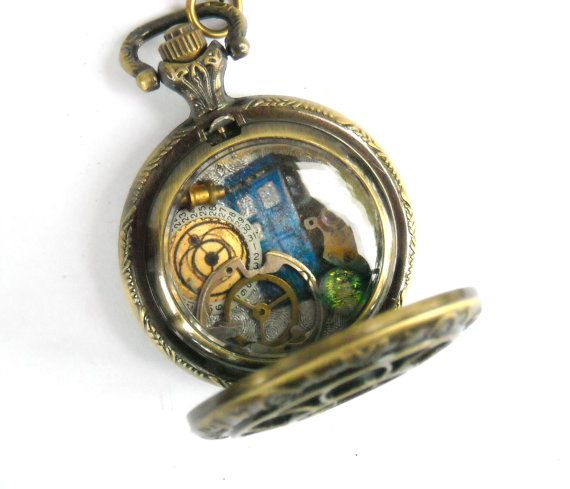 Doctor Who Small Pocket Watch Necklace by TimeMachineJewelry, $48.00