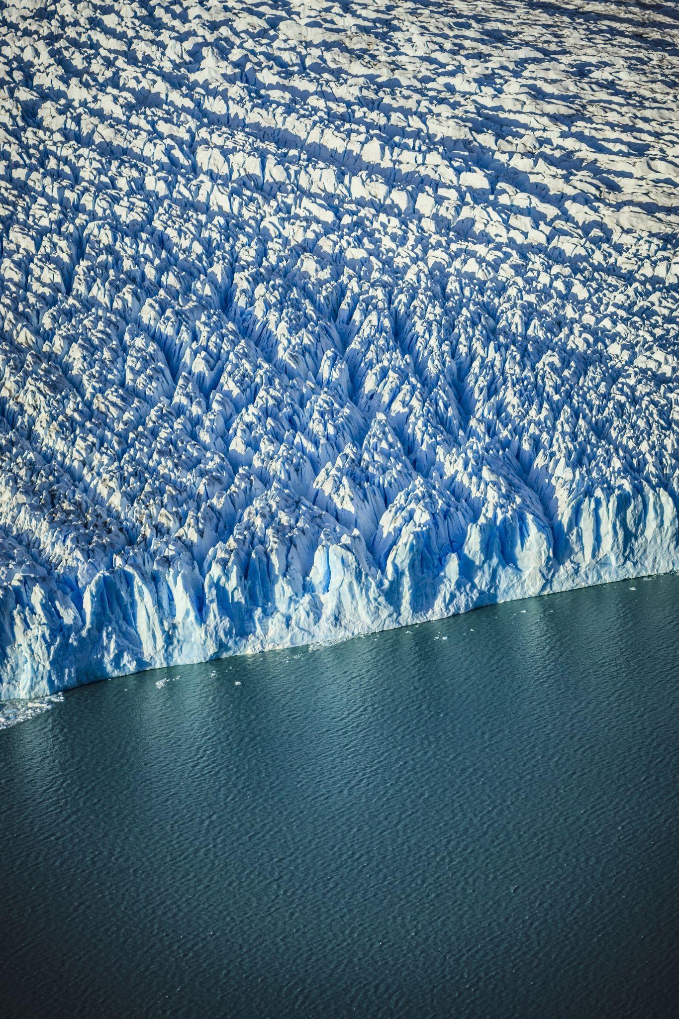 Aerial view of glacier's edge and water in El Calafate, Patagonia, Argentina