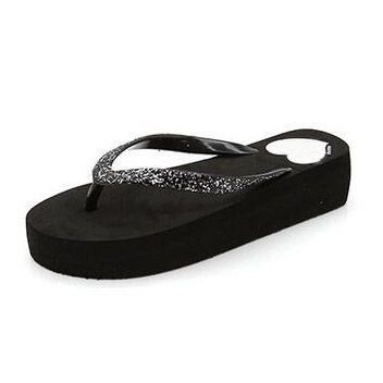 HEE GRAND Glitter Flip Flops Platform Slides Gold Silver Casual Shoes Woman  Summer Bling Creepers Slip On Flats XWT634-in Slippers from Shoes on ... 05511b19978b