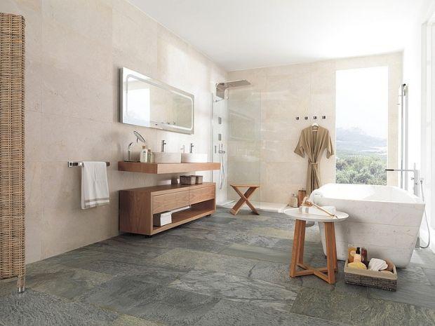 Regal Badezimmer ~ Badezimmer porzellanfliesen naturstein boden holzschrank regal
