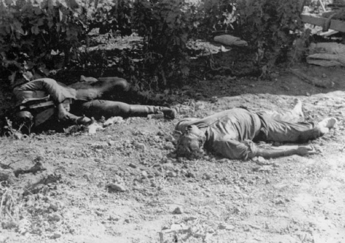 German dead from the first day of the Invasion of Crete, killed mere steps from their glider. With the landings happening right on top of the expectant defenders' positions, the first wave of attackers suffered brutal casualties. (Alexander Turnbull...