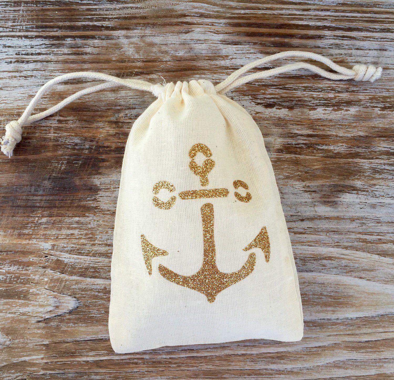 10 gold glitter double drawstring anchor favor bags, gold anchor ...