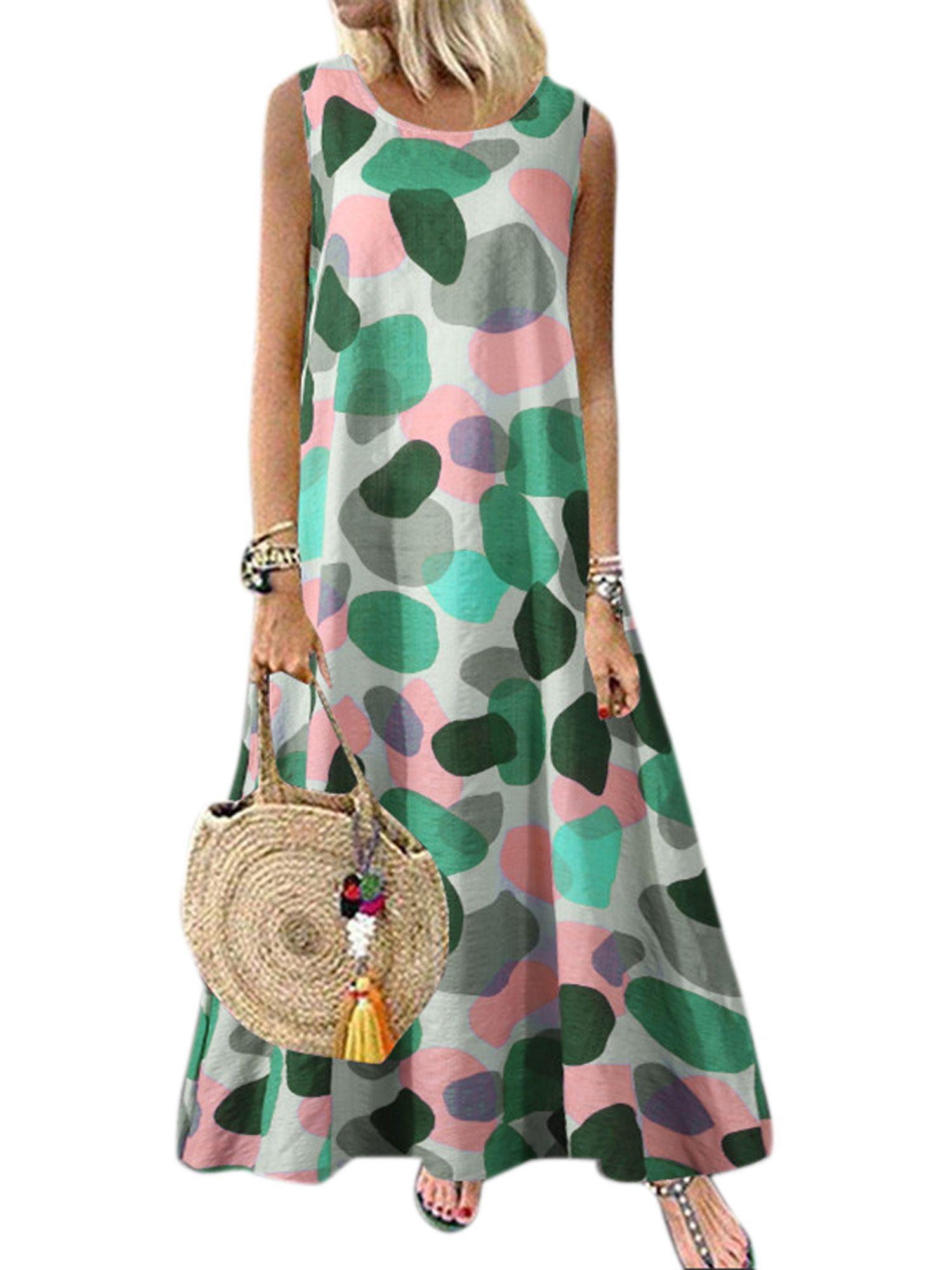 Wodstyle Women S Summer Boho Maxi Dress Sleeveless Plus Size Casual Beach Swing Sundress Walmart Com Work Dresses For Women Summer Maxi Dress Boho Boho Maxi Dress [ 2000 x 1500 Pixel ]